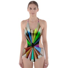 Pen Crayon Color Sharp Red Yellow Cut-Out One Piece Swimsuit
