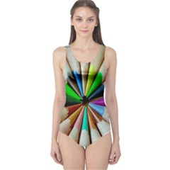 Pen Crayon Color Sharp Red Yellow One Piece Swimsuit