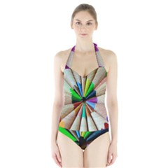 Pen Crayon Color Sharp Red Yellow Halter Swimsuit