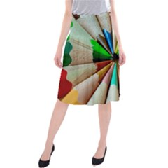 Pen Crayon Color Sharp Red Yellow Midi Beach Skirt