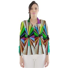 Pen Crayon Color Sharp Red Yellow Wind Breaker (women)