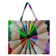 Pen Crayon Color Sharp Red Yellow Zipper Large Tote Bag