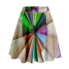 Pen Crayon Color Sharp Red Yellow High Waist Skirt