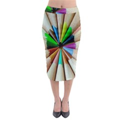 Pen Crayon Color Sharp Red Yellow Midi Pencil Skirt