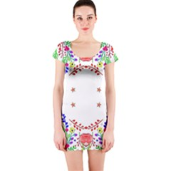 Holiday Festive Background With Space For Writing Short Sleeve Bodycon Dress