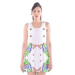 Holiday Festive Background With Space For Writing Scoop Neck Skater Dress