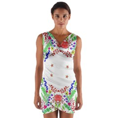 Holiday Festive Background With Space For Writing Wrap Front Bodycon Dress