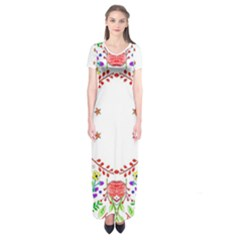 Holiday Festive Background With Space For Writing Short Sleeve Maxi Dress