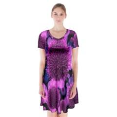 Hintergrund Tapete Keime Viren Short Sleeve V Neck Flare Dress