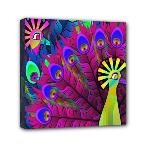 Peacock Abstract Digital Art Mini Canvas 6  x 6