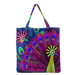 Peacock Abstract Digital Art Grocery Tote Bag