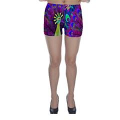 Peacock Abstract Digital Art Skinny Shorts