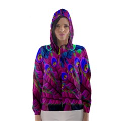 Peacock Abstract Digital Art Hooded Wind Breaker (Women)