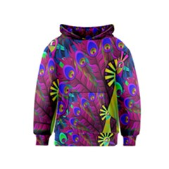 Peacock Abstract Digital Art Kids  Pullover Hoodie