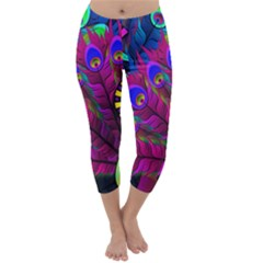 Peacock Abstract Digital Art Capri Winter Leggings