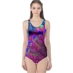 Peacock Abstract Digital Art One Piece Swimsuit