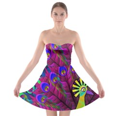 Peacock Abstract Digital Art Strapless Bra Top Dress