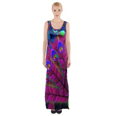 Peacock Abstract Digital Art Maxi Thigh Split Dress