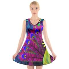 Peacock Abstract Digital Art V-Neck Sleeveless Skater Dress