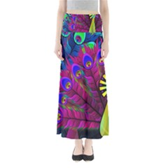 Peacock Abstract Digital Art Maxi Skirts