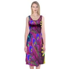 Peacock Abstract Digital Art Midi Sleeveless Dress