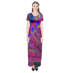 Peacock Abstract Digital Art Short Sleeve Maxi Dress