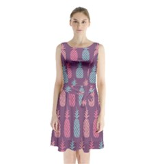 Pineapple Pattern  Sleeveless Chiffon Waist Tie Dress