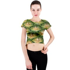 Pineapple Pattern Crew Neck Crop Top