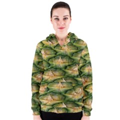Pineapple Pattern Women s Zipper Hoodie