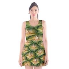Pineapple Pattern Scoop Neck Skater Dress