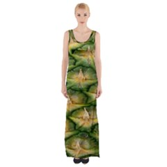 Pineapple Pattern Maxi Thigh Split Dress