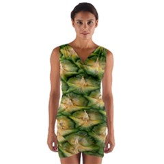 Pineapple Pattern Wrap Front Bodycon Dress