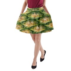 Pineapple Pattern A Line Pocket Skirt