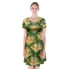 Pineapple Pattern Short Sleeve V Neck Flare Dress