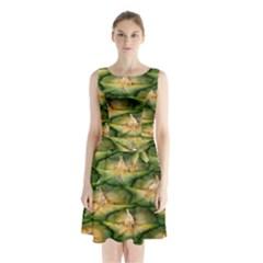 Pineapple Pattern Sleeveless Chiffon Waist Tie Dress