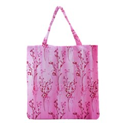 Pink Curtains Background Grocery Tote Bag