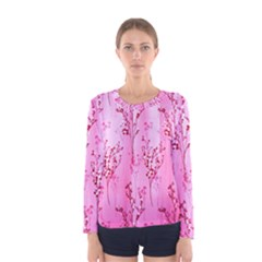 Pink Curtains Background Women s Long Sleeve Tee