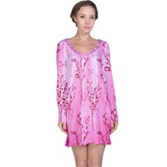 Pink Curtains Background Long Sleeve Nightdress