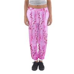 Pink Curtains Background Women s Jogger Sweatpants