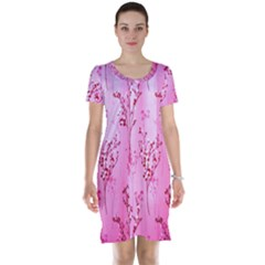 Pink Curtains Background Short Sleeve Nightdress