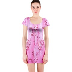 Pink Curtains Background Short Sleeve Bodycon Dress