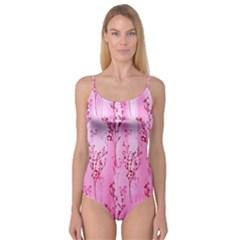 Pink Curtains Background Camisole Leotard