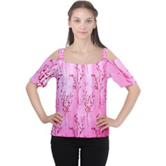 Pink Curtains Background Women s Cutout Shoulder Tee