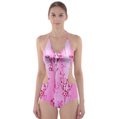 Pink Curtains Background Cut-Out One Piece Swimsuit
