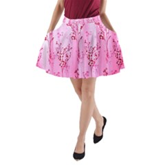Pink Curtains Background A-Line Pocket Skirt