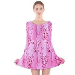 Pink Curtains Background Long Sleeve Velvet Skater Dress