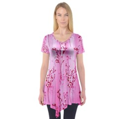 Pink Curtains Background Short Sleeve Tunic