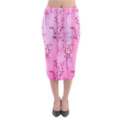 Pink Curtains Background Midi Pencil Skirt