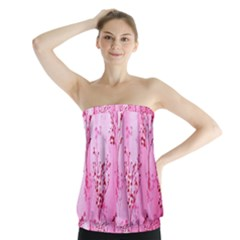 Pink Curtains Background Strapless Top