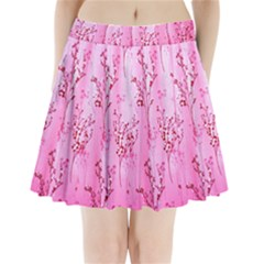 Pink Curtains Background Pleated Mini Skirt